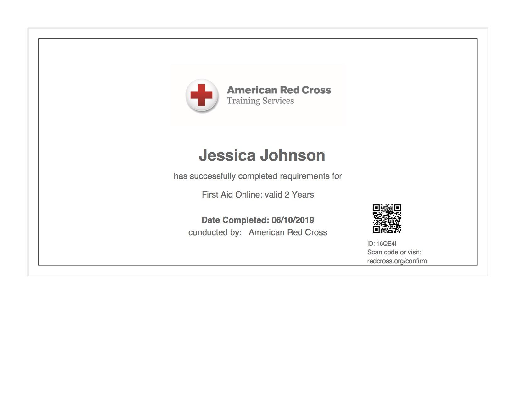 First Aid Cert 2019